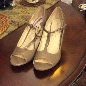 Franco Sarto Taupe Wedge Heels